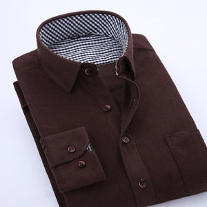 2017 Spring Men Casual Shirts Man Corduroy Long Sleeve Solid Color Fashionmodkily-modkily