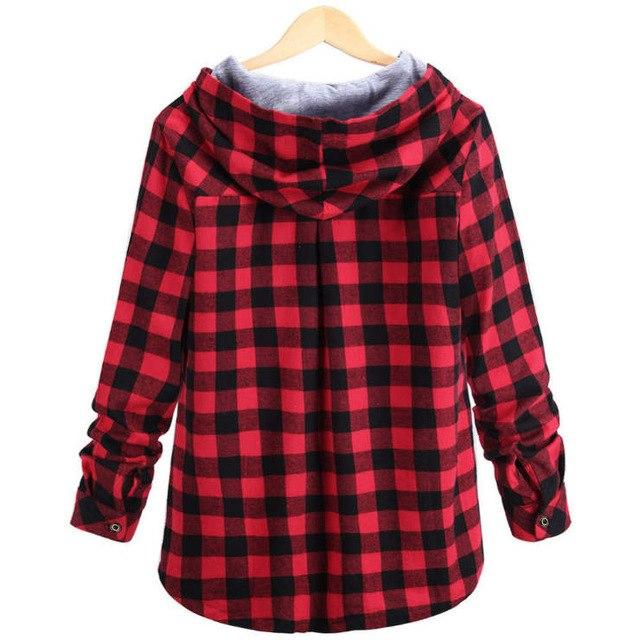 Women Casual Red Plaid Shirt Hooded Long Sleeve England Shirt Topsmodkily-modkily