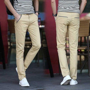 Stretch Men's Slim Fit Casual Pants Flat Front Chinos 97% Cotton Hightmodkily-modkily