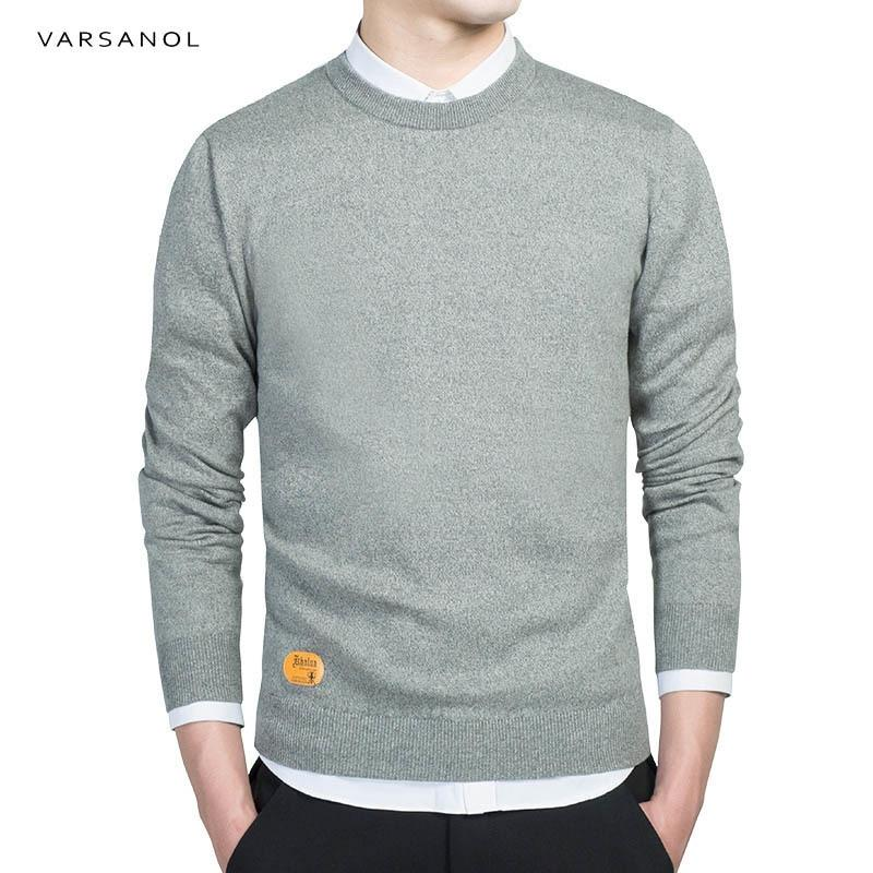 Varsanol Mens Cotton Sweater Pullovers Men O-Neck Sweaters Jumper Autumn Thin malemodkily-modkily