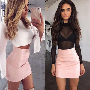 HOT Fashion Women Shiny Leather Skirts Female Solid Bodycon Pencil Short Minimodkily-modkily