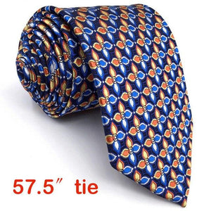 P14 Extra long size Floral Checked Multicolor Navy Mens Neckties Matching Hankymodkily-modkily