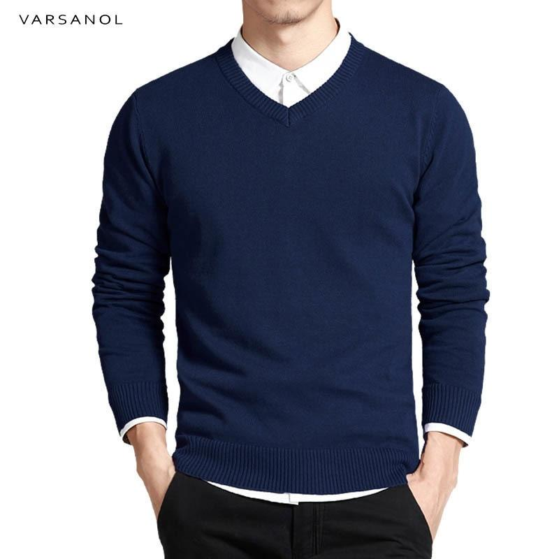 Varsanol Cotton Sweater Men Long Sleeve Pullovers Outwear Man V-Neck sweaters Topsmodkily-modkily