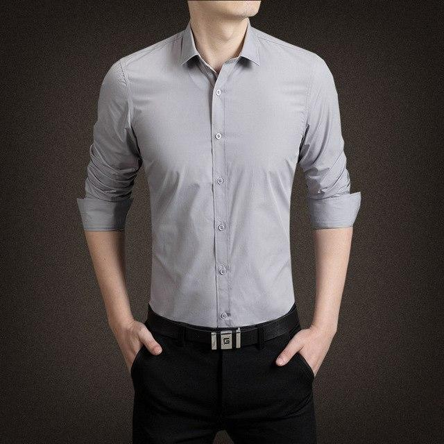 New Men Casual Shirt Brand Clothing Cotton Tuxedo Mens Dress Shirtmodkily-modkily