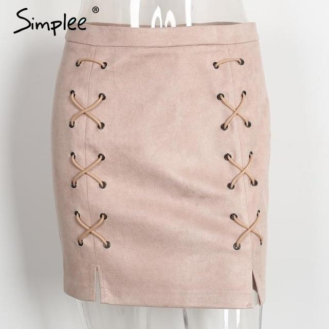 Simplee Sexy pockets leather suede pencil skirts women bottom Bodycon zipper shortmodkily-modkily