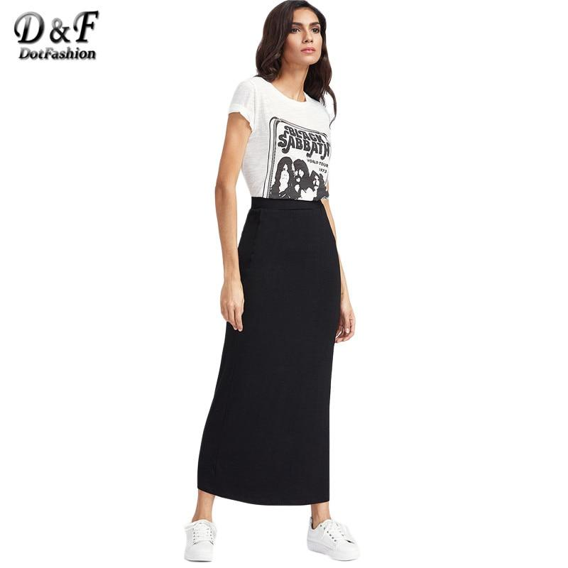 Basic Long Skirt Women Black Elastic Waist Jersey Longline Skirts 2017modkily-modkily