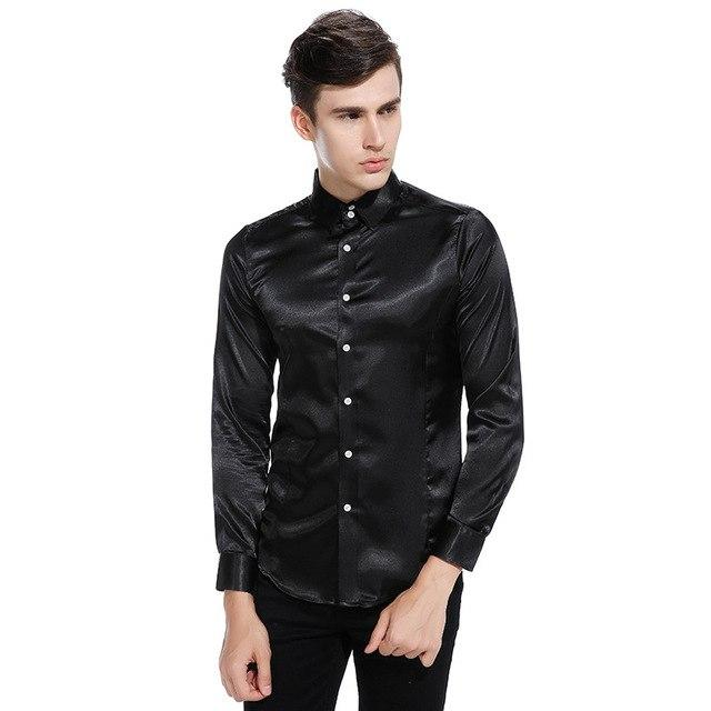 Silk Satin Shirt Men 2017 Autumn Men Shirt Long Sleeve Slim Fitmodkily-modkily