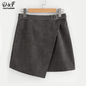 O-Ring Belt Detail Cord Wrap Solid Skirt 2017 Autumn Grey Amodkily-modkily