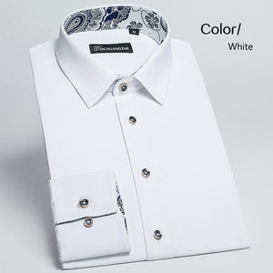 Plus Size 5XL 2017 Fashion Autumn Mens Dress Shirts Long Sleeve Slimmodkily-modkily