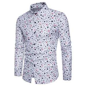 Brand New European Business Mens Long Sleeved Shirts Fashion Digital Five-star Printingmodkily-modkily