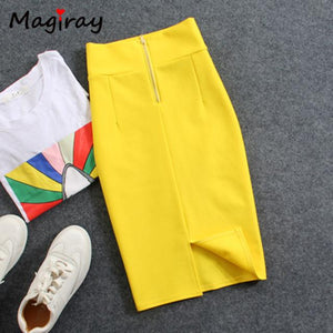High Waist Elastic Pencil Skirt Female Bodycon Skirts Womens Summer 2017modkily-modkily