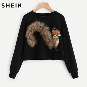 SHEIN Faux Fur Fox Patch Sweatshirt Pullover Women Black Long Sleeve Roundmodkily-modkily