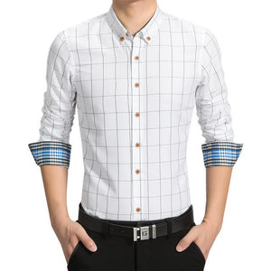 New Casual Shirt Men Plaid Male Shirts Top Slim Fit Longmodkily-modkily