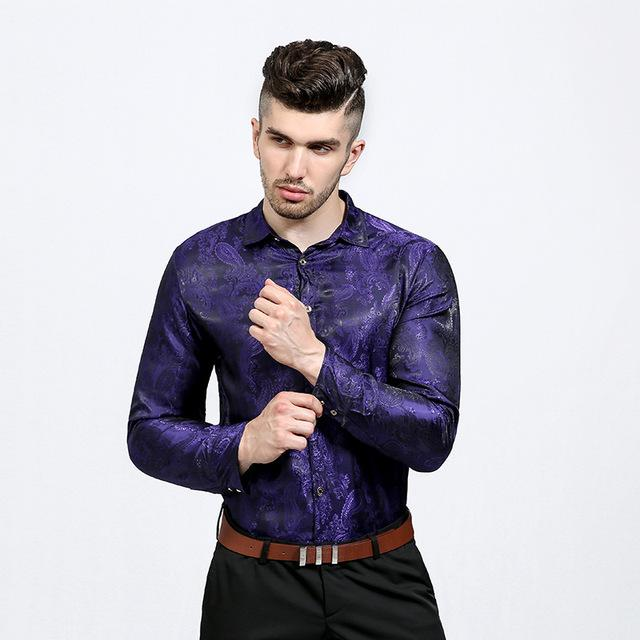 Shiny Silk Shirt Men Chemise Homme 2017 New Paisley Flower Slim Fitmodkily-modkily