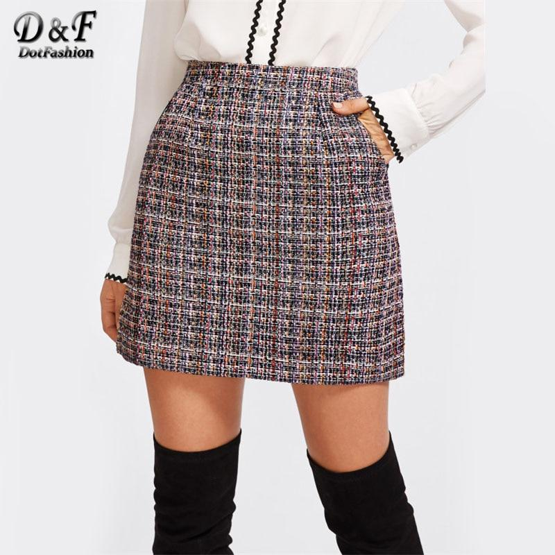 Zip Back Tweed Winter Skirt Women 2017 New Arrival Multi Plaidmodkily-modkily