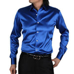 New Royal Blue Silk Satin Shirt Men Chemise Homme 2017 Fashion Mensmodkily-modkily