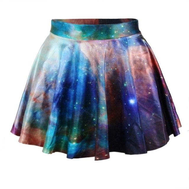 JIAYIQI Summer Fashion Women 3D Printed Galaxy Mini Skirt Mid Waist Ladiesmodkily-modkily
