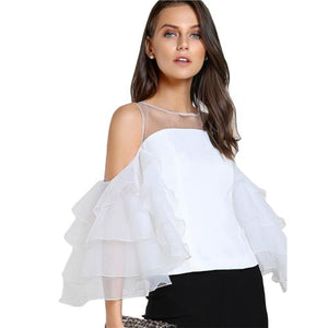 SHEIN Contrast Mesh Cut Out Layered Ruffle Sleeve Top White Three Quartermodkily-modkily