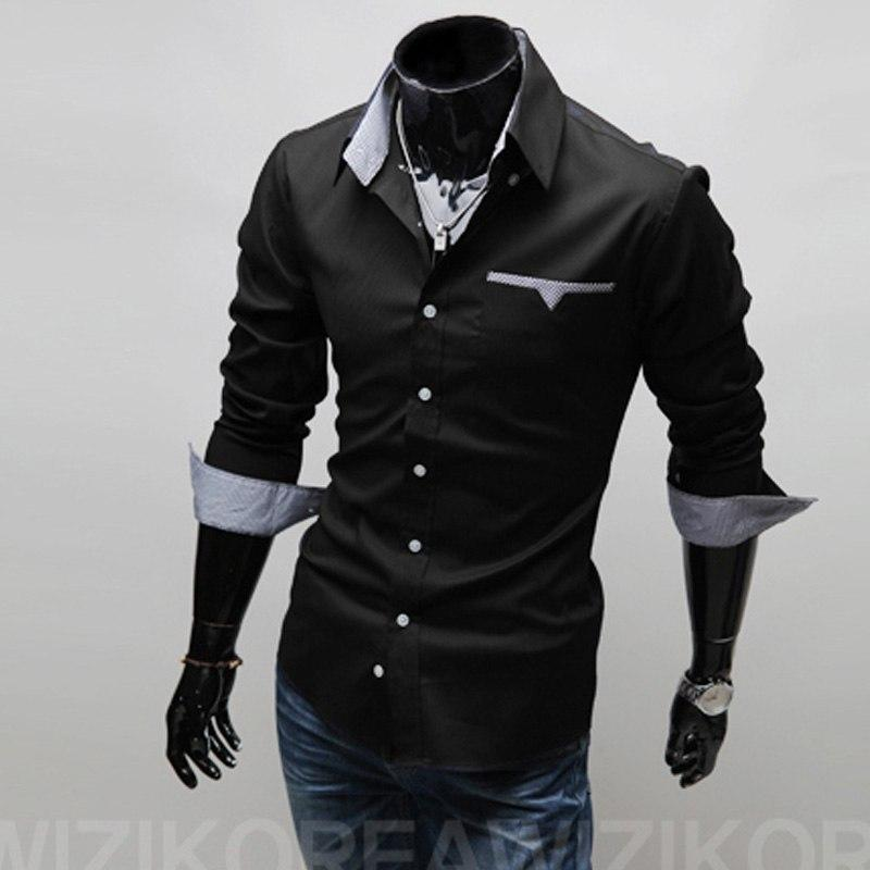 2017 new brand mens shirts regular fit 3 colors plaid patchwork modkily-modkily
