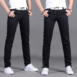 Casual Men Pants Cotton Slim Straight Pant Trousers Fashion Business Lightweight Solidmodkily-modkily