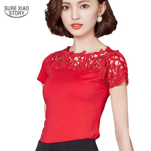 2017 New Women Cotton Lace Patchwork Blouse Shirt Short Sleeve Shirt Elegantmodkily-modkily