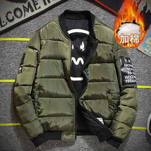 Bomber Jacket Men Pilot with Patches Green Both Side Wear Thinmodkily-modkily