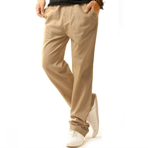 Men Summer Linen Cotton Casual Pants Solid Thin Fitness Sweatpants Straight Trousersmodkily-modkily