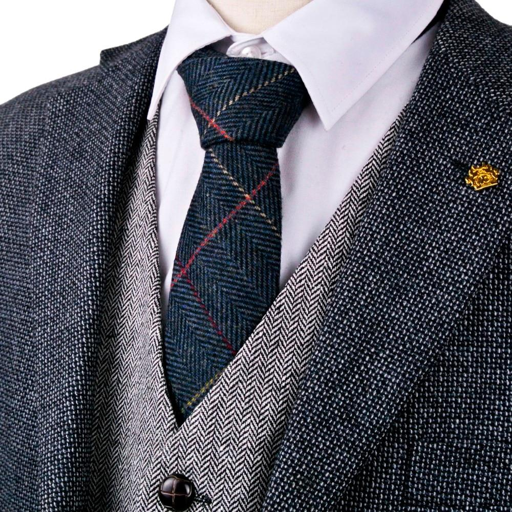 "Checked Herringbone Tweed Navy Blue Brown Camel Gray Grey 2.76"" Wool Men'smodkily-modkily"