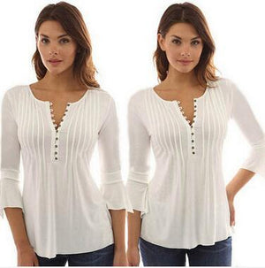 Casual Flare Sleeve Slim Shirts Plus Size 5XL Tops 2017 Spring Newmodkily-modkily
