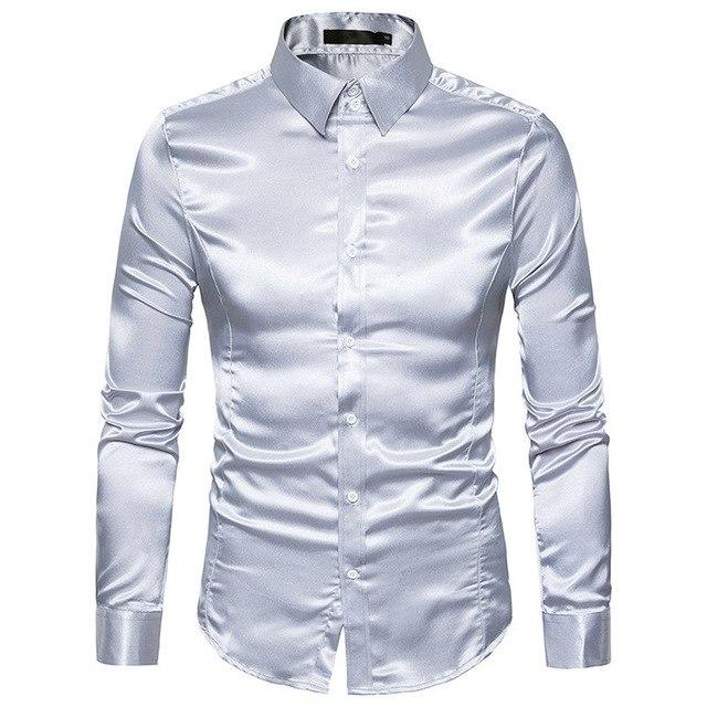 Silk Satin Shirt Men 2017 White Men Shirt Long Sleeve Slim Fitmodkily-modkily