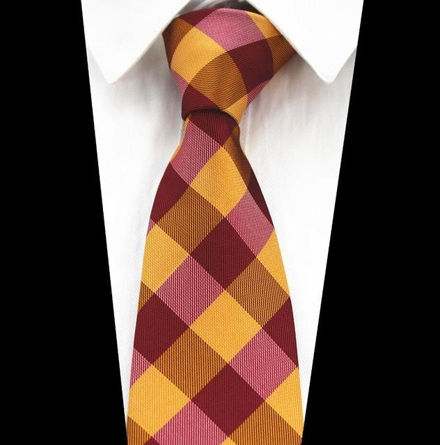 Red Wedding Novelty Geometry Ties 8cm Men's Fashion Yellow Plaid Purplemodkily-modkily