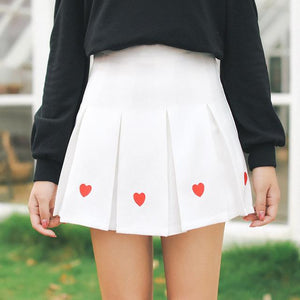 Women Pleated Skirt Lolita Harajuku Kawaii Sweet Embroidery Skirts Mini Cute Schoolmodkily-modkily