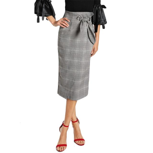 Grommet Detail Bow Tie Grey Plaid Wrap Skirt 2017 Elegant Workmodkily-modkily