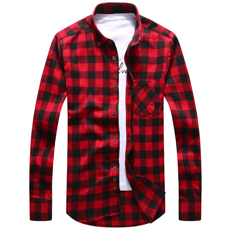 2017 New Fashion Hot Brand Men Red Plaid Shirt Casual Slim Fitmodkily-modkily