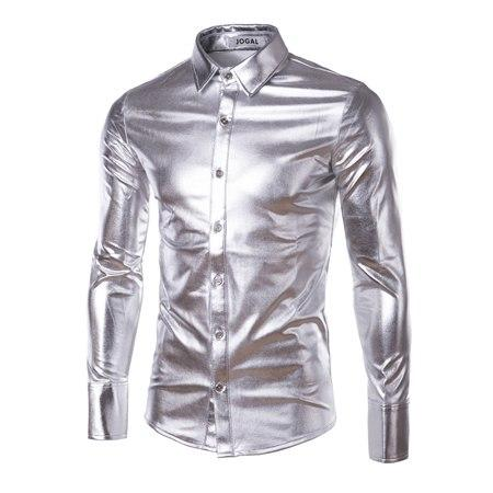 Purple Coated Metallic Night Club Wear Shirt Men Long Sleeve Halloween Buttonmodkily-modkily