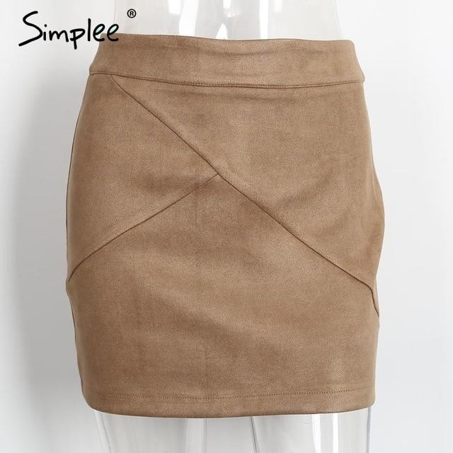 Simplee Autumn vintage leather suede pencil skirt winter 2016 Cross high waistmodkily-modkily