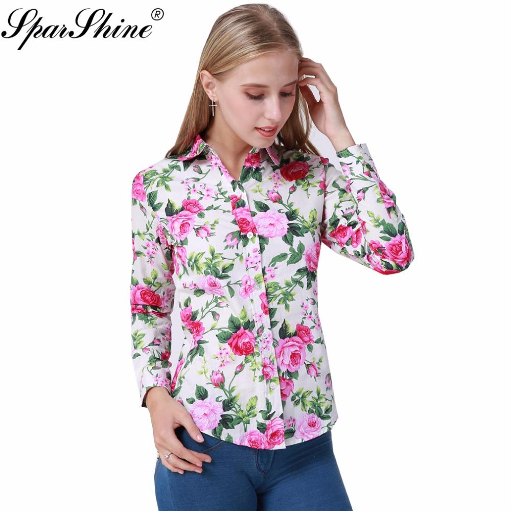 2017 Summer Long Sleeve Cotton Blouse Shirt White Red Floral Women Blousesmodkily-modkily