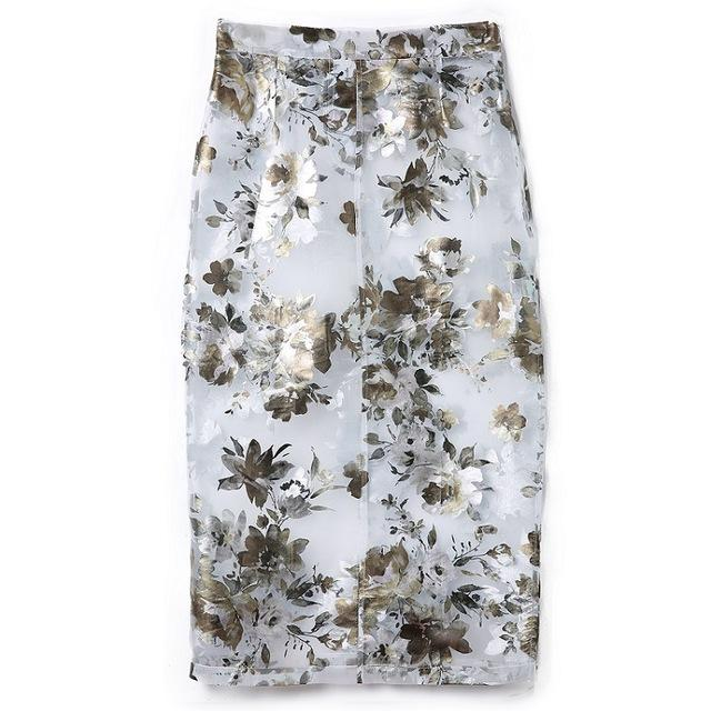Spring Summer Organza Midi Pencil Skirt Sexy Bodycon Floral Print Transparent Highmodkily-modkily