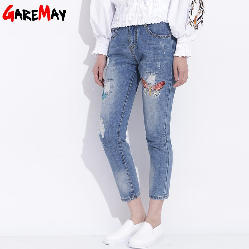 Womens Ripped Jeans With Embroidery 2018 Ladies Distressed Jeans Casual Cotton Brokenmodkily-modkily