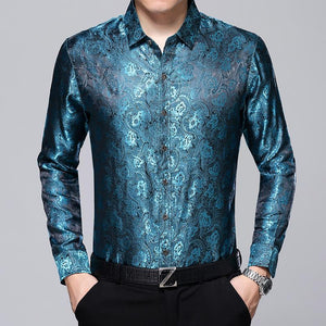 2017 new arrive men fashion jacquard autumn spring long sleeve loose silkmodkily-modkily