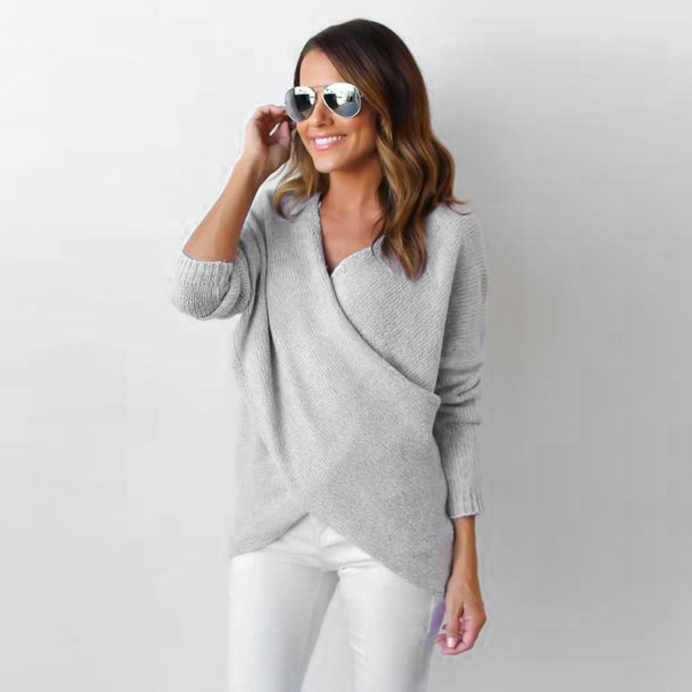 Womens Fashion Solid Sweater V-Neck Cross Long Sleeve Loose Knitted Sweater Casualmodkily-modkily