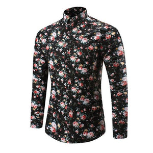2017 New Men Shirt M-5XL Long Sleeve Fashion Floral Printing Malemodkily-modkily