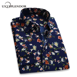 2018 Retro Floral Printed Man Casual Shirts Fashion Classic Men Dress Shirtmodkily-modkily