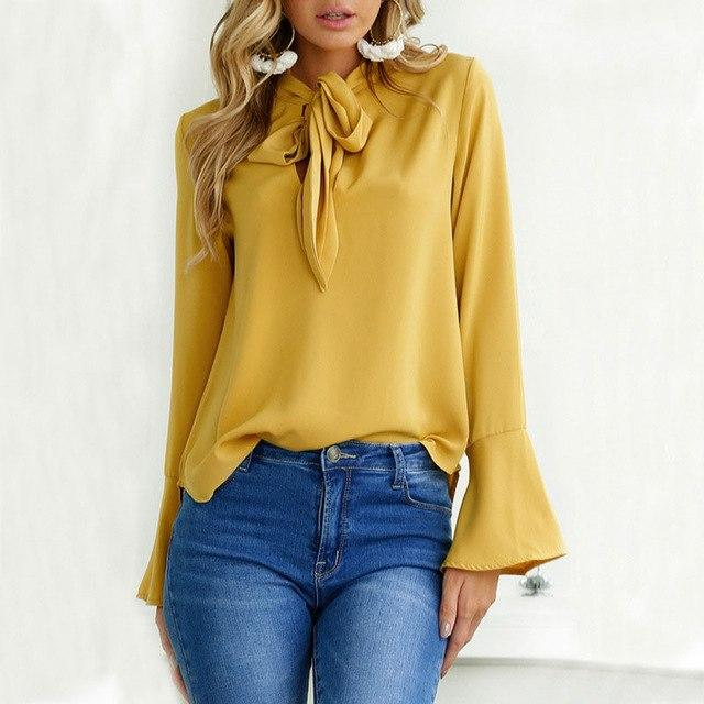 2018 Spring Autumn New Women Blouse with Bow Tie Chiffon Blouses Topsmodkily-modkily