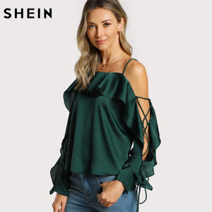 SHEIN Lace Up Silk Blouse Sleeve Flounce Top Woman Blouses 2017 Autumnmodkily-modkily