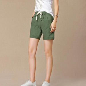 New 2018 Summer shorts women high waist Fashion Pleated Loose solid cottonmodkily-modkily