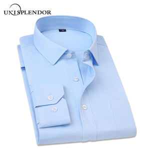 Big Size Shirt 2018 Spring New Men Dress Solid Color Shirts Casualmodkily-modkily