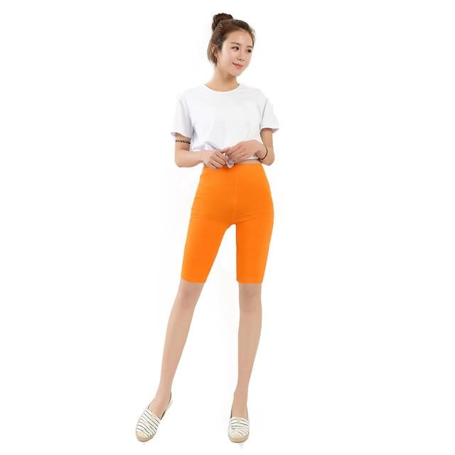 Women Knee Length Elastic Solid Color Ladies Casual Trousers Fitnessmodkily-modkily