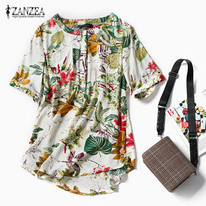 Women Floral Print Blouse Tops Casual Summer Roll Up Short Sleevemodkily-modkily