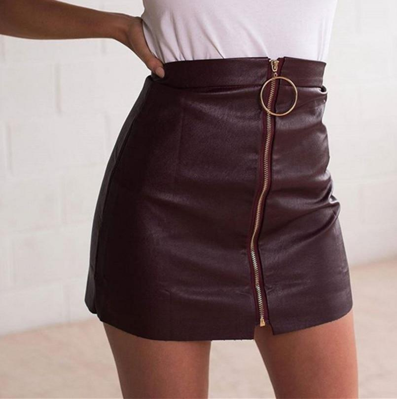 Leather Skirts Womens Sexy Short Black High Waist O Ring Design Pencilmodkily-modkily